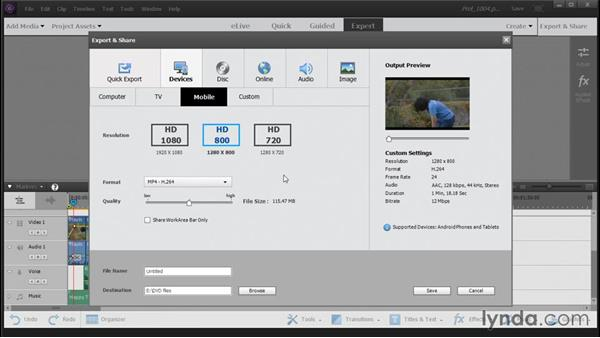 Outputting a video for viewing on a portable device: Up and Running with Premiere Elements 14