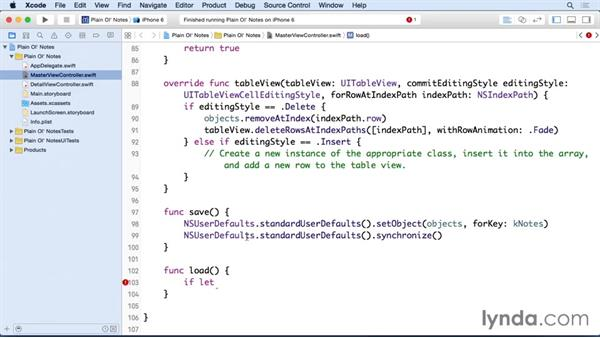 Saving and loading persistent data: Building a Note-Taking App for iOS 9 with Swift