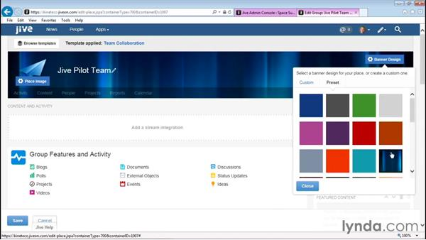 Modifying the group and activity page: Up and Running with Jive Administration