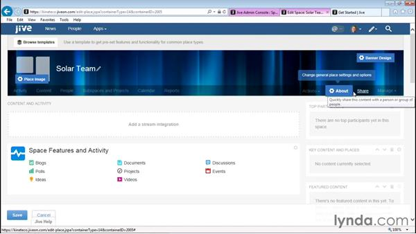 Modifying a space and activity page: Up and Running with Jive Administration