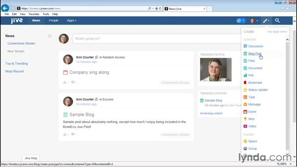 Creating a blog: Up and Running with Jive Administration
