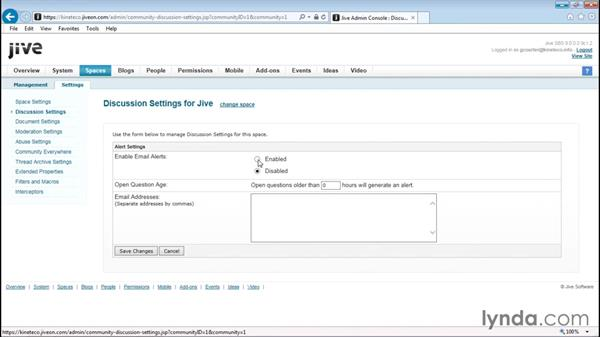 Configuring discussions: Up and Running with Jive Administration