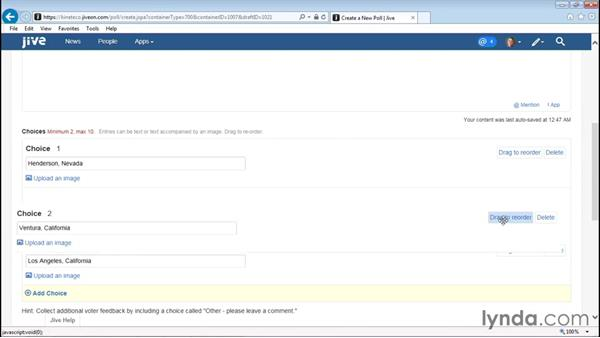 Creating a poll: Up and Running with Jive