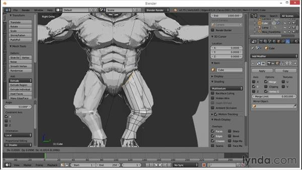 Adding edge loops and smoothing: Blender: Creating a Game Character