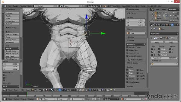 Blocking out the chest and hips: Blender: Creating a Game Character