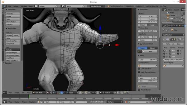 Blocking out the arms: Blender: Creating a Game Character