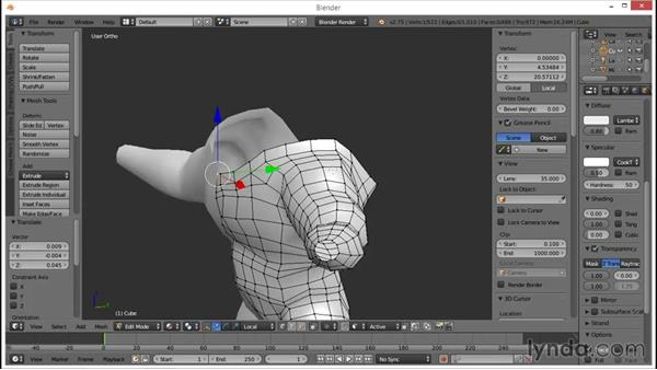 Blocking in the back and neck: Blender: Creating a Game Character