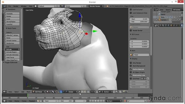 Adjusting the low-poly head mesh: Blender: Creating a Game Character