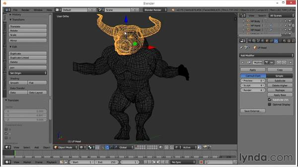 Reducing the polygon levels: Blender: Creating a Game Character