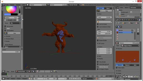 Overview of the texture paint mode and brushes: Blender: Creating a Game Character