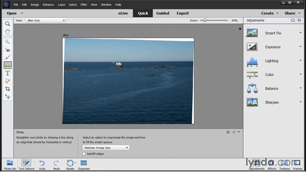 Straightening photos: Photoshop Elements 14 Essential Training
