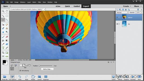 Using the selection tools: Photoshop Elements 14 Essential Training