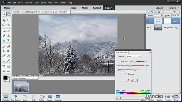 Reducing haze: Photoshop Elements 14 Essential Training