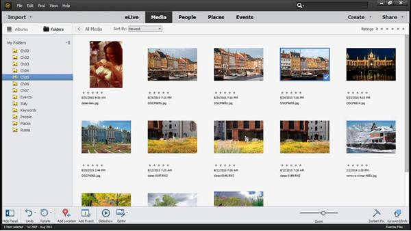 Displaying filenames and photo information: Photoshop Elements 14 Essential Training