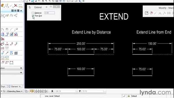 Using the Extend Elements command: Up and Running with Bentley MicroStation