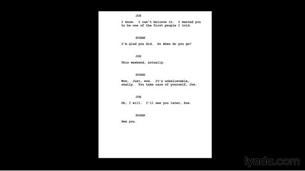Looking at our script: Introduction to Video Dialogue Editing