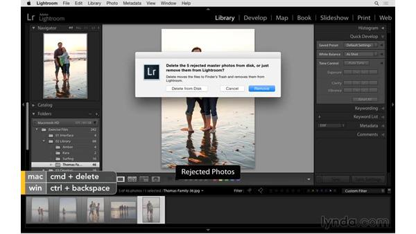 Quickly deleting unwanted images: Exploring Lightroom: Power Shortcuts