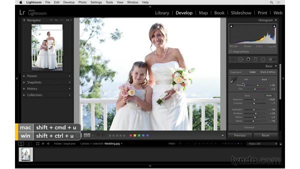 Quickly correcting tone and white balance: Exploring Lightroom: Power Shortcuts