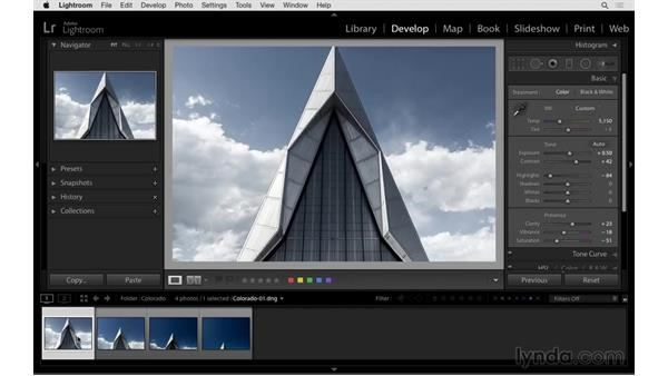 Synchronizing settings across multiple images: Exploring Lightroom: Power Shortcuts
