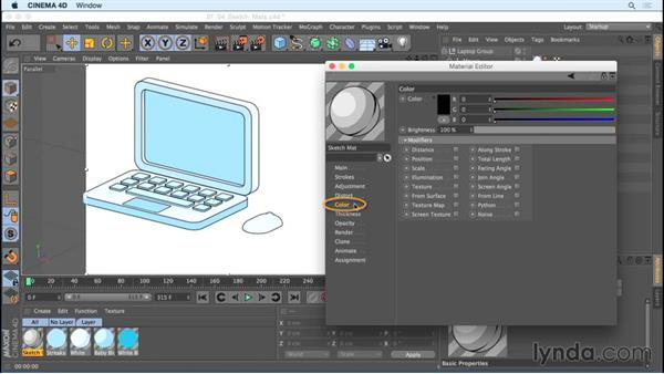 Learning the basics of sketch materials: Creating Motion Graphics with Sketch and Toon in CINEMA 4D