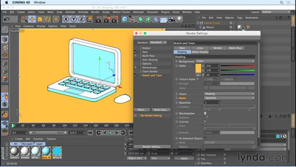 Using the Shading tab: Creating Motion Graphics with Sketch and Toon in CINEMA 4D