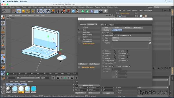 Understanding Sketch and Toon display settings: Creating Motion Graphics with Sketch and Toon in CINEMA 4D