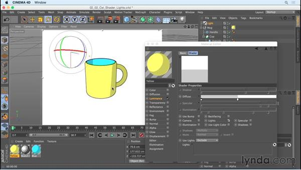 Using Cel Shader with lights: Creating Motion Graphics with Sketch and Toon in CINEMA 4D
