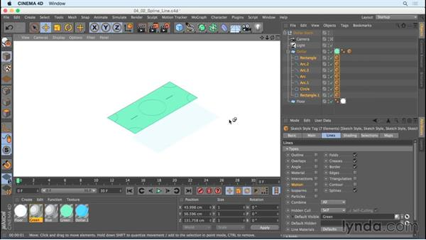 Rendering lines on spline objects with Spline Line: Creating Motion Graphics with Sketch and Toon in CINEMA 4D