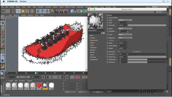 Creating noise with distort options: Creating Motion Graphics with Sketch and Toon in CINEMA 4D