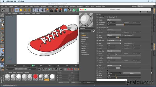 Creating dotted line accents with stroke pattern options: Creating Motion Graphics with Sketch and Toon in CINEMA 4D