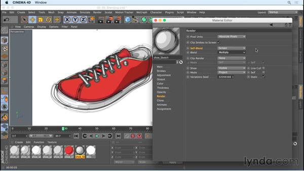 Reviewing the Render tab and blending mode options: Creating Motion Graphics with Sketch and Toon in CINEMA 4D