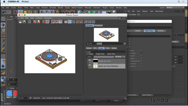 Rendering Sketch and Toon effects with multipass options: Creating Motion Graphics with Sketch and Toon in CINEMA 4D