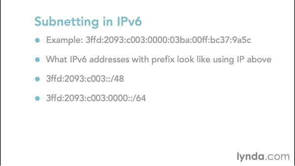 Working with subnetting in IPv6: Foundations of Networking: IP Addressing
