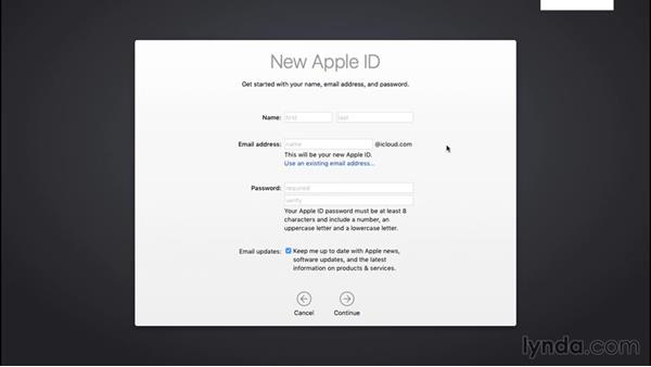 Setting up an Apple ID or iCloud account: Mac OS X El Capitan Essential Training