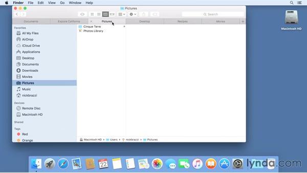 Using tabs to organize the Finder window: Mac OS X El Capitan Essential Training