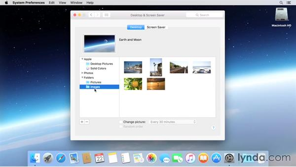 Customizing the desktop wallpaper: Mac OS X El Capitan Essential Training