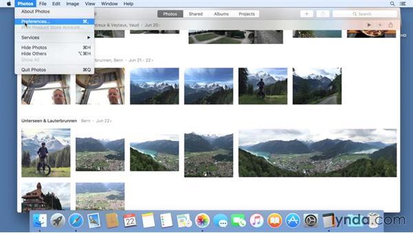 Accessing application preferences: Mac OS X El Capitan Essential Training