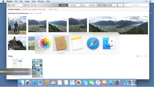 Multitasking between multiple applications: Mac OS X El Capitan Essential Training