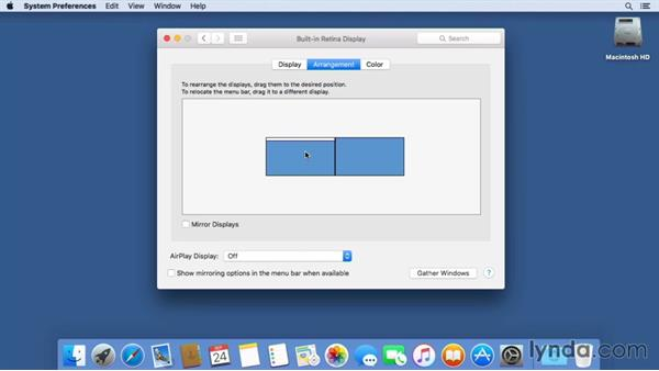 Working with multiple displays: Mac OS X El Capitan Essential Training