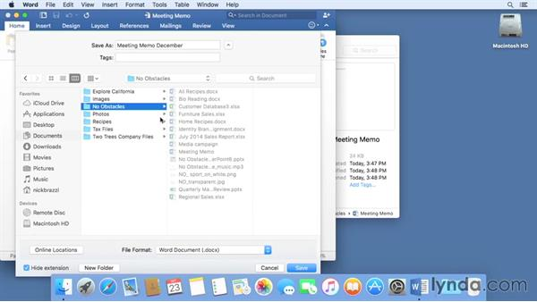 Saving files within an application: Mac OS X El Capitan Essential Training