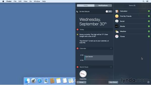 Working with the Today view in Notification Center: Mac OS X El Capitan Essential Training
