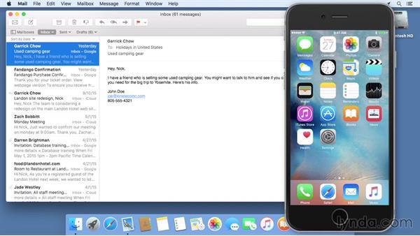 Using Handoff to transfer tasks between an iPhone and a Mac: Mac OS X El Capitan Essential Training
