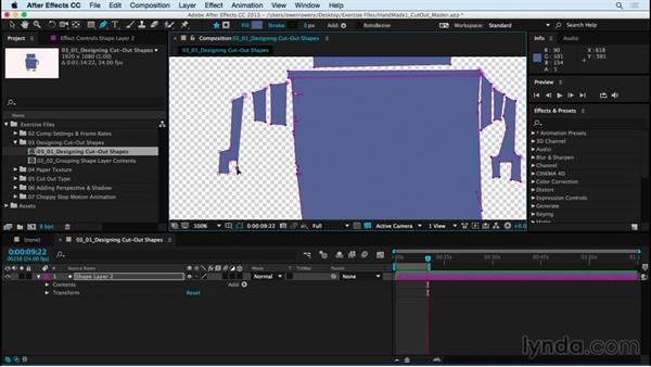Designing cutout shapes with the Pen tool: Creating a Handmade Look in After Effects 01: Paper Cutout and Stop Motion Styles