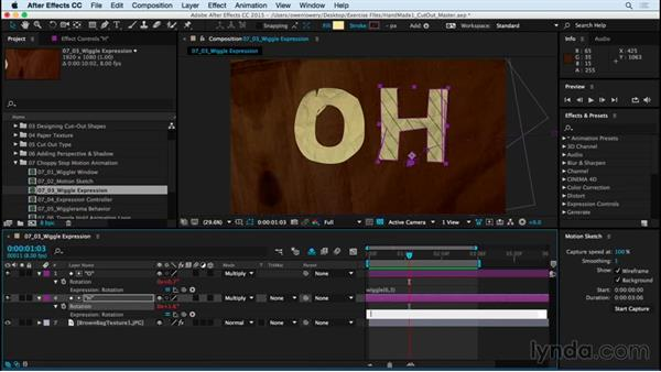 Adding random motion wiggle expression: Creating a Handmade Look in After Effects 01: Paper Cutout and Stop Motion Styles