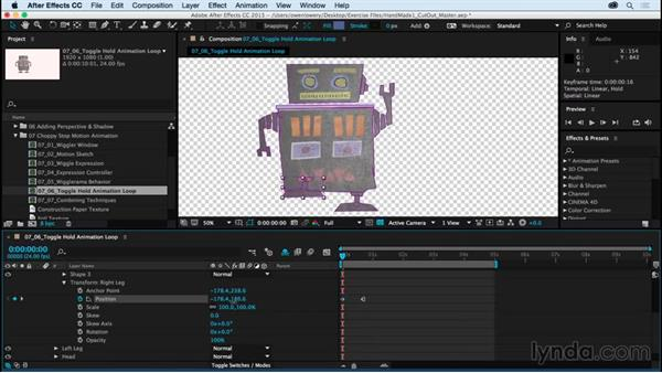 Looping toggle hold animation: Creating a Handmade Look in After Effects 01: Paper Cutout and Stop Motion Styles