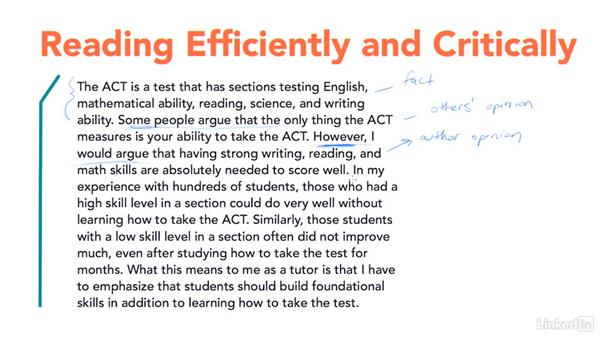 Reading efficiently and critically: Test Prep: ACT
