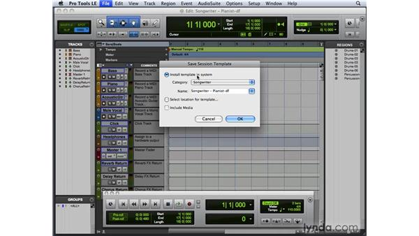Creating a custom session template: Pro Tools 8 New Features