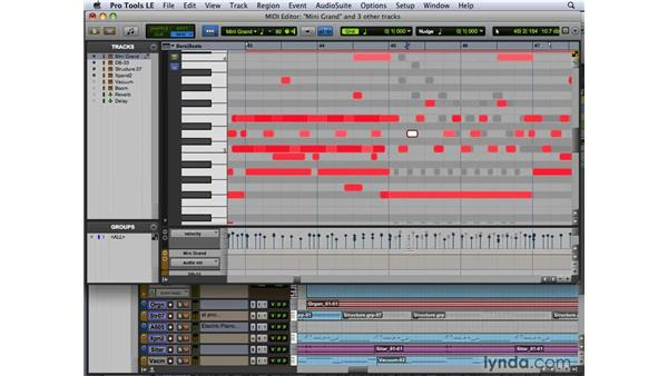 Working with tracks in the MIDI Editor: Pro Tools 8 New Features