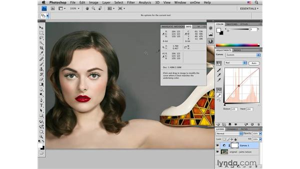 White balancing with curves: Photoshop CS4 Portrait Retouching Essential Training