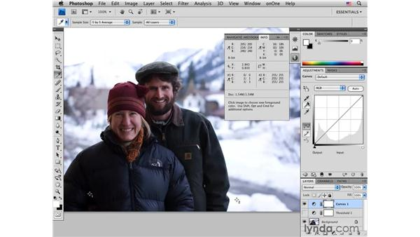 Color-correcting white and black points in a photo: Photoshop CS4 Portrait Retouching Essential Training